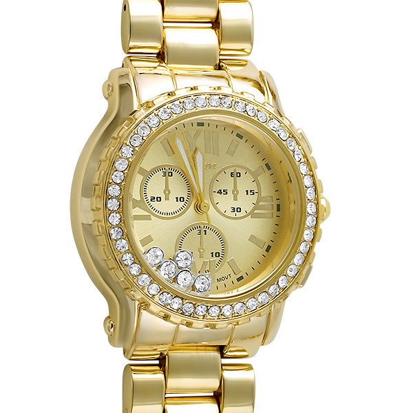 Gold Finish Floating Stones Crystal Watch