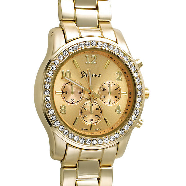 Medium Face All Gold Crystal Sport Watch