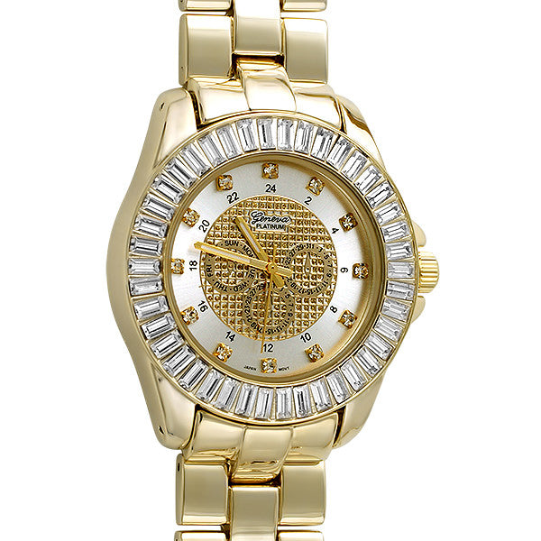 Gold Finish Baguette Bezel Fashion Watch