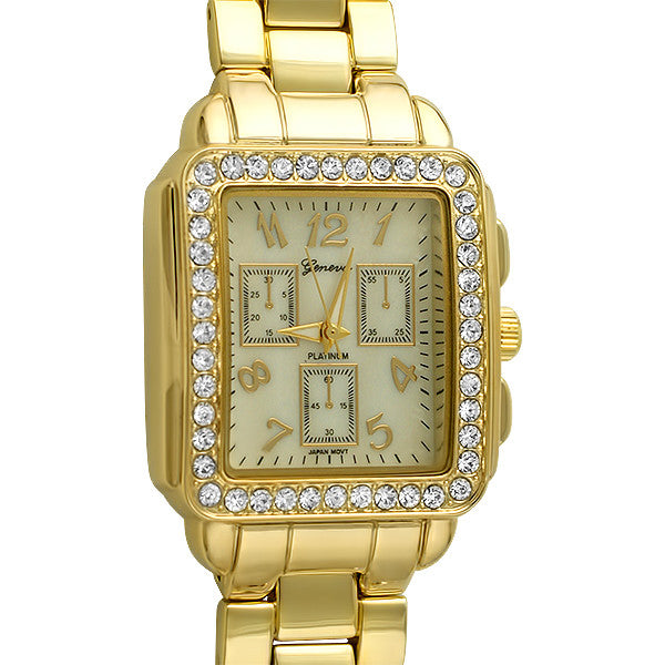 Gold Mother of Pearl Rectangular Fashion Watch