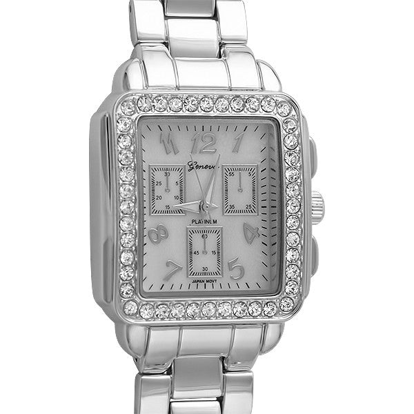 Silver Mother of Pearl Rectangular Fashion Watch