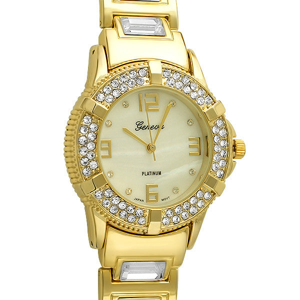 Gold Big Stone Glamour Crystal Watch