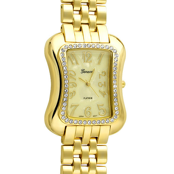 Gold Unique Rectangular Fashion Watch