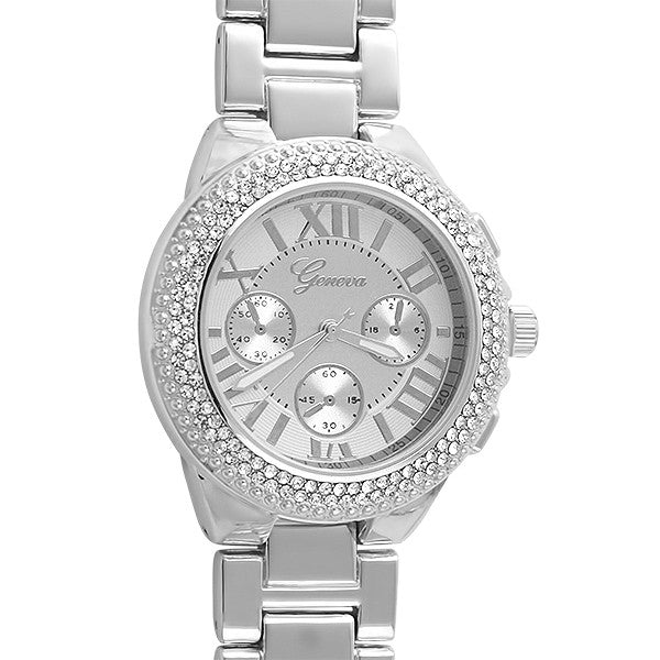 Silver Sport Pave Bezel Crystal Watch
