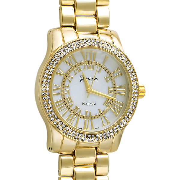 Gold Roman Dial Crystal Womens Watch