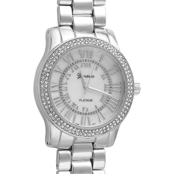 Silver Roman Dial Crystal Womens Watch