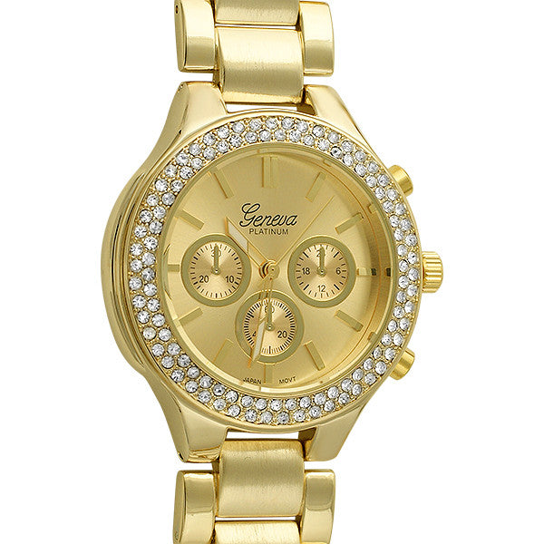 Gold Sporty Womens Crystal Watch