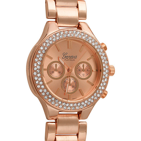 Rose Gold Sporty Womens Crystal Watch