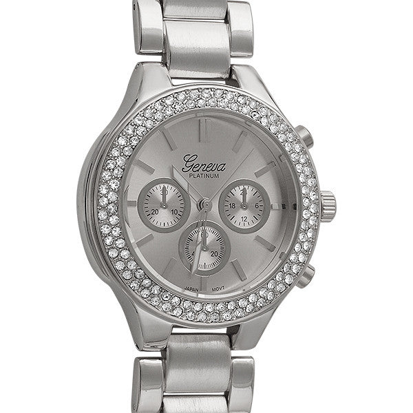 Silver Sporty Womens Crystal Watch
