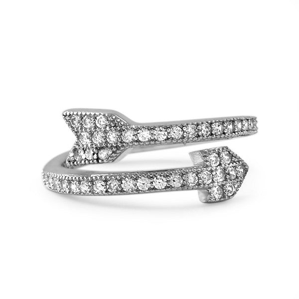 Cubic Zirconia Sterling Silver Arrow Ring