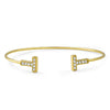 "Gold Plated CZ ""T"" Fashion Bangle"