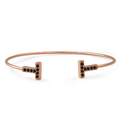"Rose Gold Black CZ ""T"" Fashion Bangle"