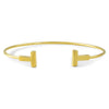 "14K Gold Finish Plain ""T"" Fashion Bangle"