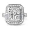 3.45 CTW Rectangular Cushion Cut Halo CZ Ring