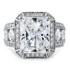 5.85 CTW Cushion CZ Halo Fancy Statement Ring