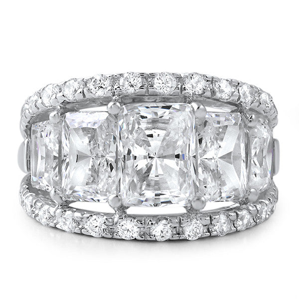 3.5 CTW Cushion Cut Fancy CZ Statement Ring