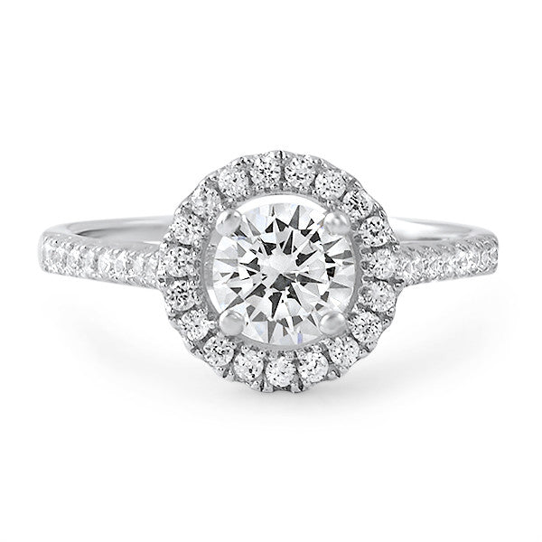 1.20 Carat Sterling Silver Classic Halo CZ Ring