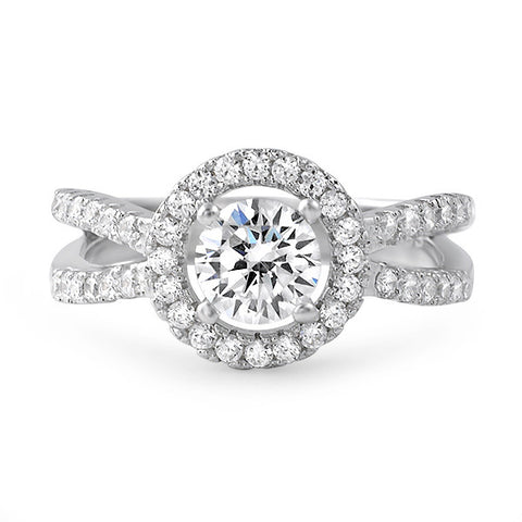 1.00 Carat CZ Halo Split Shank Ring
