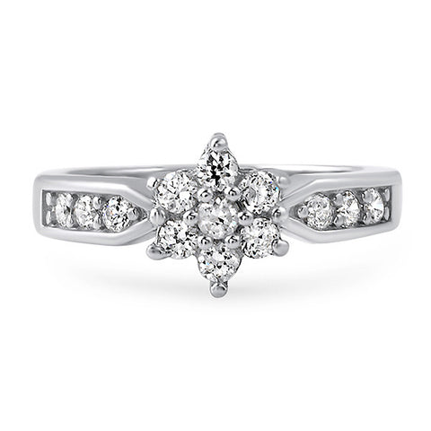 0.85 Carat CZ Cluster Silver Promise Ring