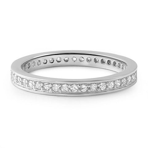 0.65 CTW Sterling Silver CZ Eternity Band