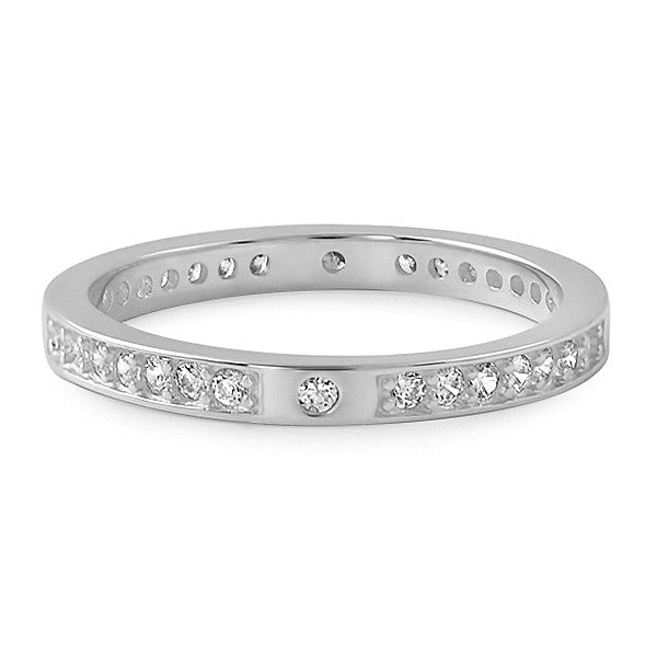 Sterling Silver Thin CZ Fashion Band