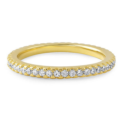 Gold Borderless Thin CZ Eternity Band