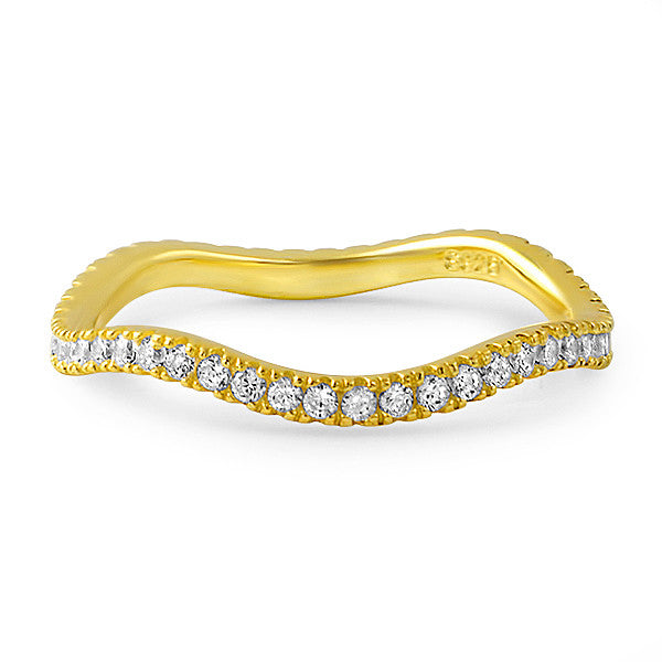 14K Gold Tone Curvy CZ Eternity Ring