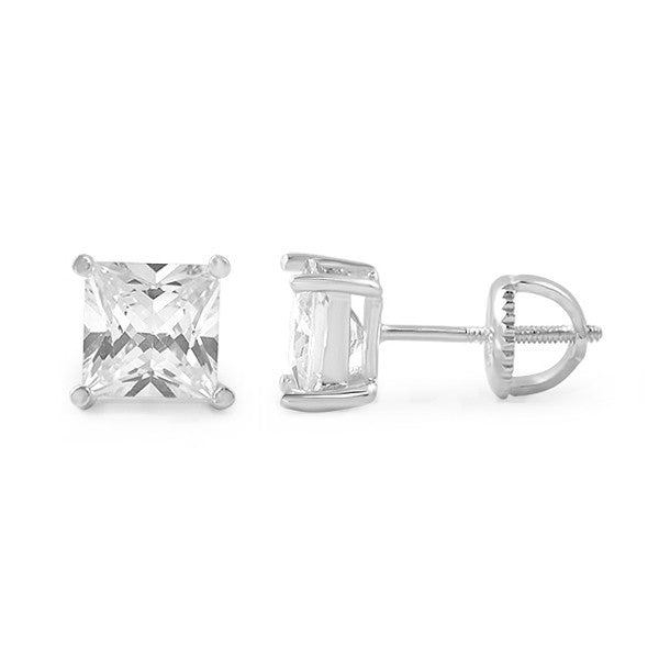 Silver Princess Cut CZ Studs Screwback