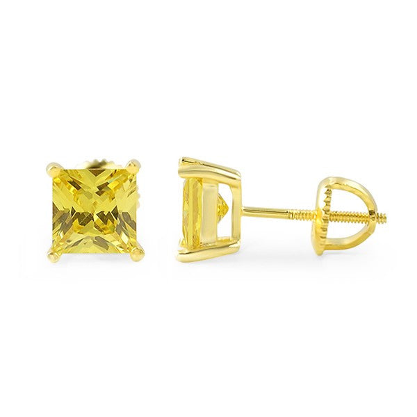 Canary Princess Cut CZ Studs Screwback