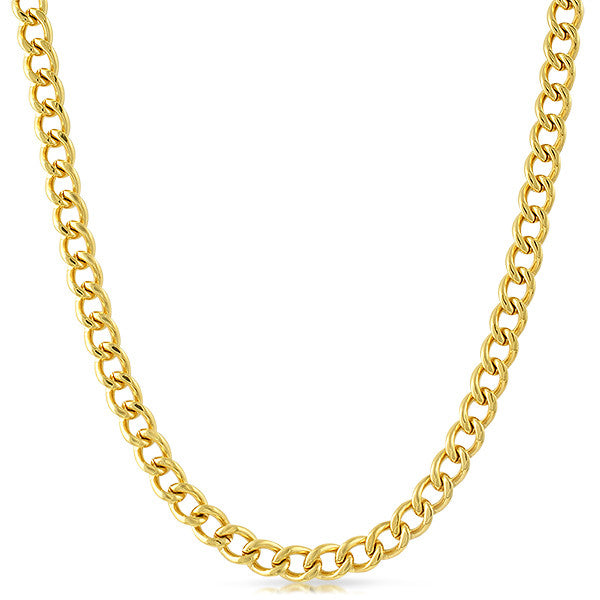 7mm 18K Gold IP Cuban Necklace