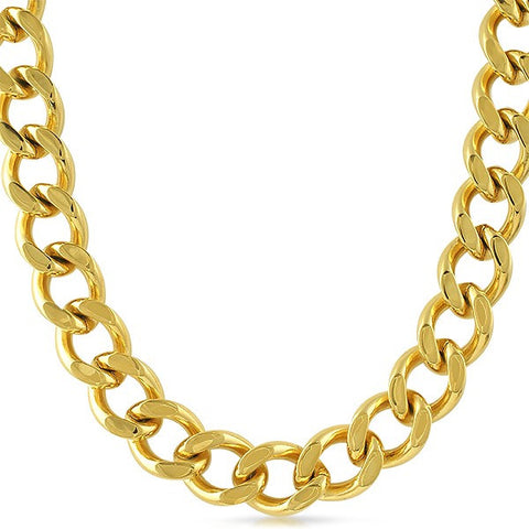 14mm 18K Gold IP Chunky Cuban Chain