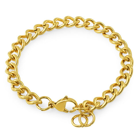 7mm 14K Gold IP Cuban Bracelet