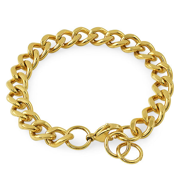 10mm 14K Gold IP Cuban Bracelet