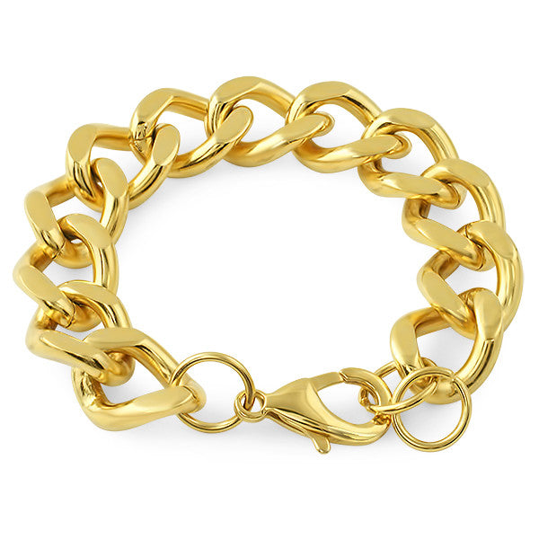 14mm Large Gold Cuban Bracelet