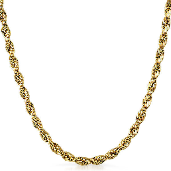 6mm 14K Gold IP French Rope Necklace