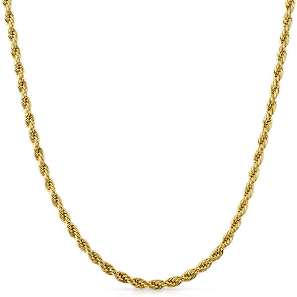 4mm 14K Gold IP French Rope Necklace