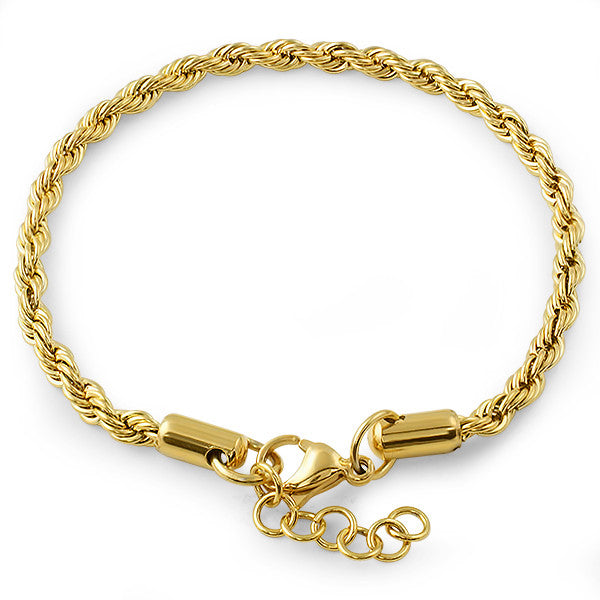 4mm Stainless Steel Silver French Rope Bracelet