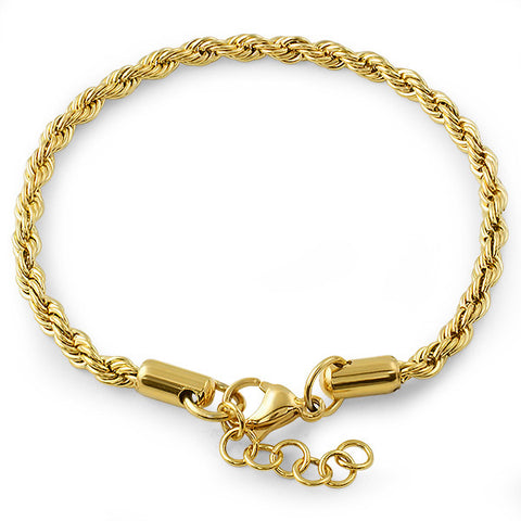 4mm 14K Gold IP French Rope Bracelet