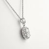 925 Silver Simulated Diamond Oval Pendant Set