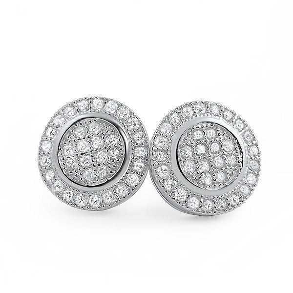 Sterling Silver CZ Micropave Round Stud Earrings