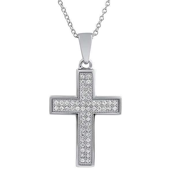 925 Silver Micropave Simulated Diamond Cross Set