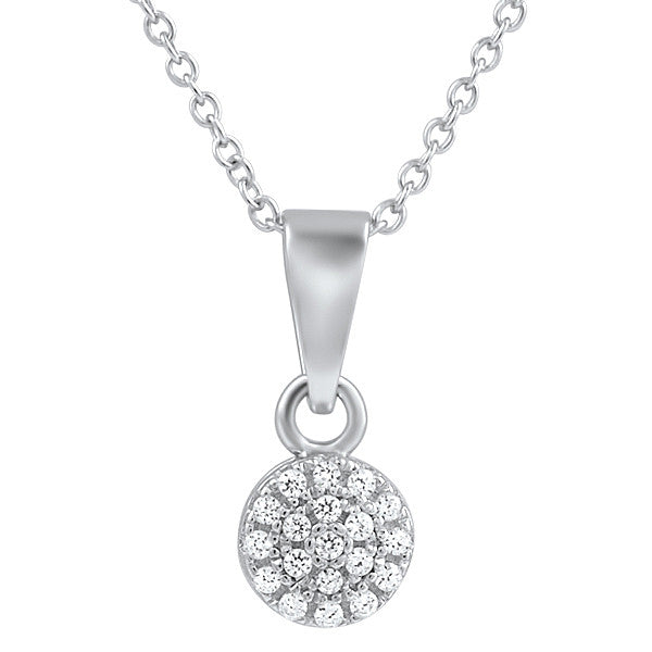 925 Silver Round Micropave CZ  Baby Pendant