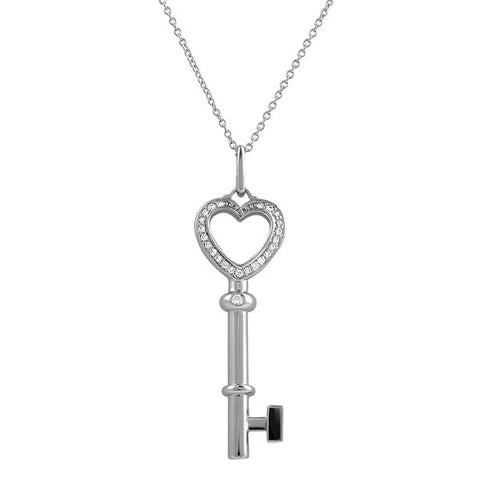 Silver Signity CZ Heart Key Necklace