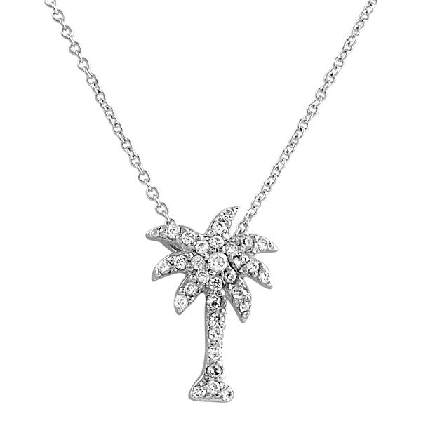 Signity CZ Palm Tree Necklace 925 Silver