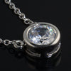 Round Bezel Set Simulated Diamond Necklace
