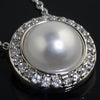 Silver Created Pearl Pendant With Signity CZ Accent
