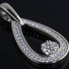 Sterling Silver Teardrop Simulated Diamond Pendant