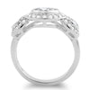 925 Silver 3 Stone Halo CZ Engagement Ring