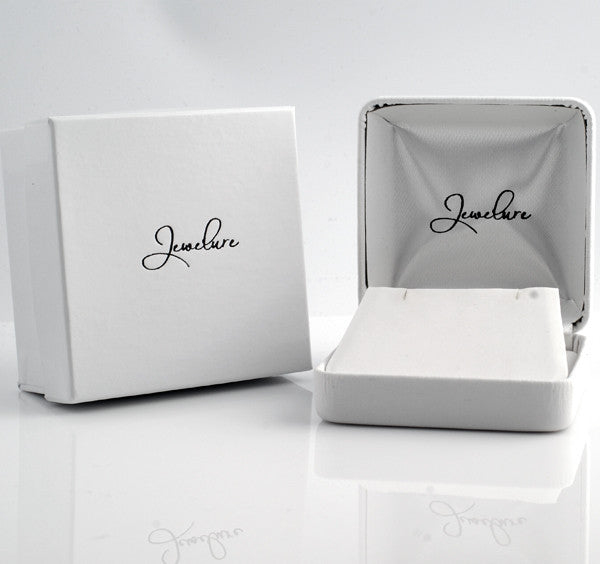 Large Earring or Pendant White Leatherette 2 Piece Gift Box
