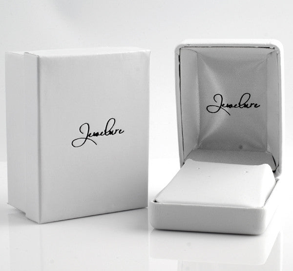 Stud Earring or Pendant White Leatherette 2 Piece Gift Box
